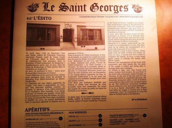 Le Saint Georges : Menu et histoire