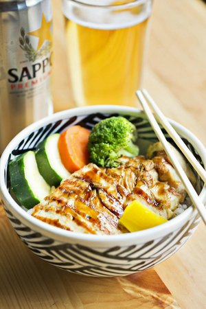 chicken teriyaki donburi rice bowl w/ pickled veggies