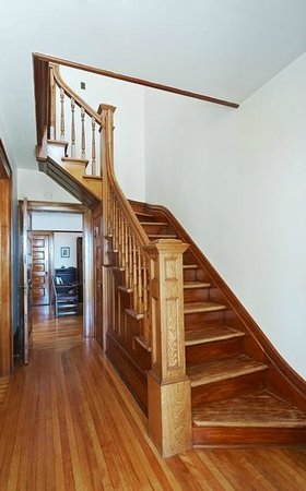By Chadsey's Cairns Winery and Vineyard: main stair case in the winery farmhouse