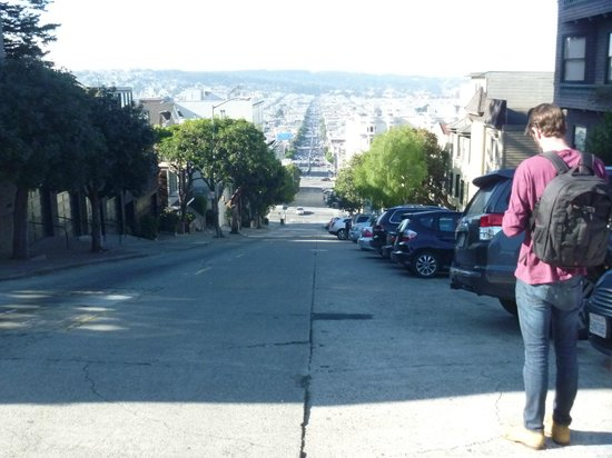 Comfort Inn by the Bay : looking back down at the hotel from the top of Lombard street -a lot easier going back down !