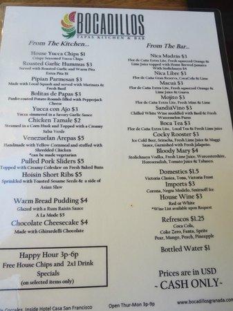 Bocadillos - Tapas Kitchen & Bar: tapas menu