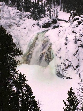 Back Country Snowmobile Adventures : Upper Falls at Yellowstone