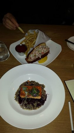 """Artisan Bistro: Lobster on a """"brioche"""" (hotdog roll) with blah fries and salmon on a bed of blah quinoa"""