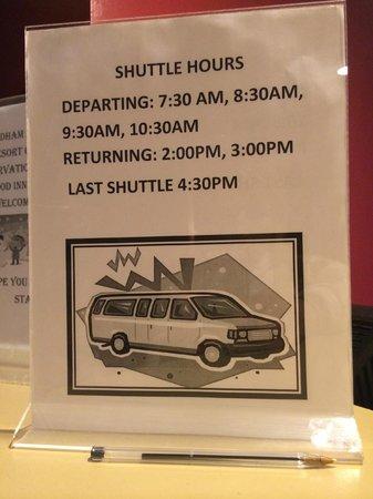Winwood Inn & Condos : Shuttle Schedule