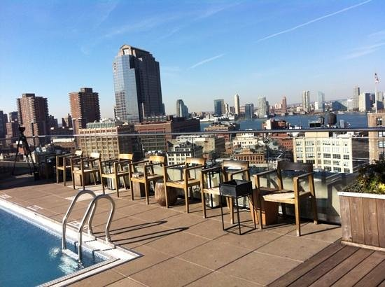 The James New York: Pool at the rooftop in the end of October.