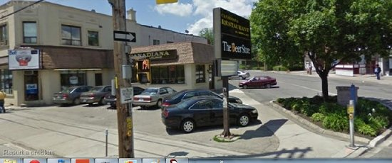 Canadiana Restaurant, Lakeshore Blvd. front, Mimico, right side of pic.