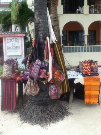 Conch Shell Inn: woven goods sold on the beach outside of the hotel