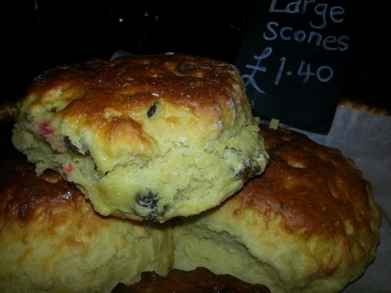 The Grapevine: Large scones heated in the oven with lots of butter and strawberry jam.. oh yummie