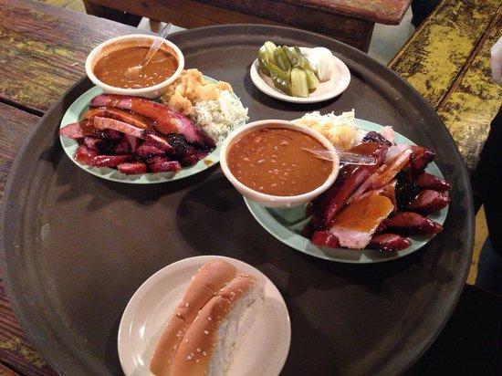 Salt Lick BBQ: Two rancher sample plates.