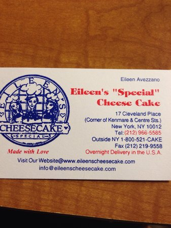 Eileen's Special Cheesecake: From grand central station take the green line to spring street.