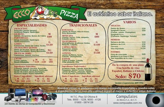 Ecco Pizza: Carta