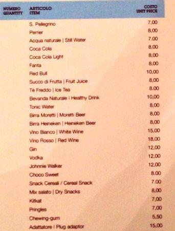 Sheraton Diana Majestic Hotel: Reasonable pricing at minibar. :-)
