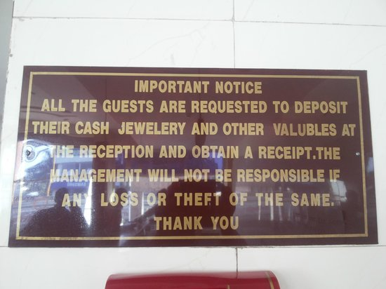 Hotel Atithi : They do not take ownership of valuable deposited with them?