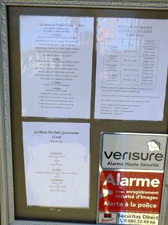 Les Vieilles Tours : Le menu April 2013