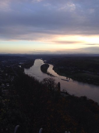 View from Drachenfels down onto the river Rhine just before sunset