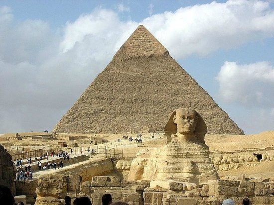 Egypt Giza Sphinx and in the background the Khafre's Pyramid