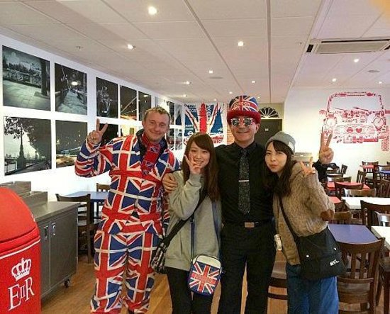 Great British Fish and Chips: Don't be afraid to ask our Manager and Union Jack Man for a photo