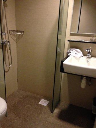 Parc Sovereign Hotel - Albert St.: Size of bathroom, shower - no door.
