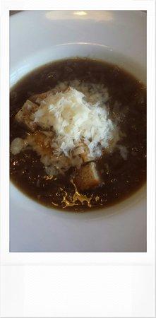 Made by Jonty: Onion soup, sour dough croutons & parmezan.