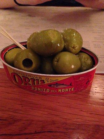Salt House Tapas: Gordal olives, olive oil and salt. Beautiful!