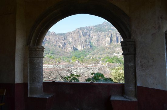 Ex Convento Dominico de la Natividad: View to the pyramid on the top of the mountain from the convent