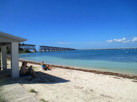 Bahia Honda State Park and Beach: View of old bridge from the beach