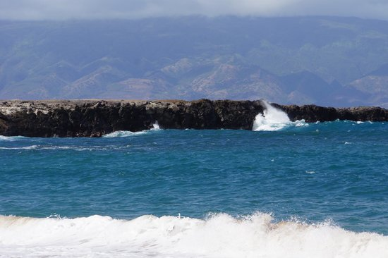The Ritz-Carlton, Kapalua: Waves crashing at the headland behind the resort