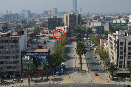 Hotel Arizona Centro Historico : Red circle is hotel as seen from The Revolution Monument.