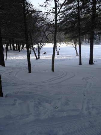 Maine Lakeside Cabins : Looking from Deck at lake. Yes its there under snow and ice....lol