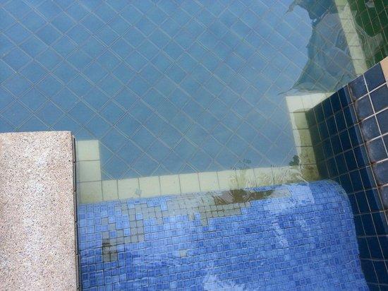 Aonang Ayodhaya Beach Resort: Missing tiles on steps from pool access room. Yellowish water.