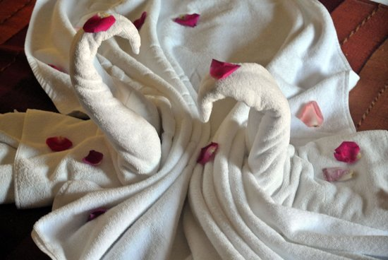 Hotel Les Jardins de l'Agdal: The towel swans