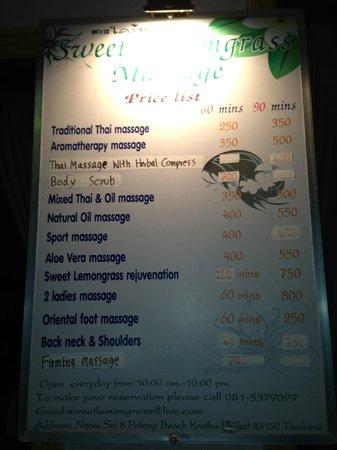 Sweet Lemongrass Massage: Abbreviated Menu