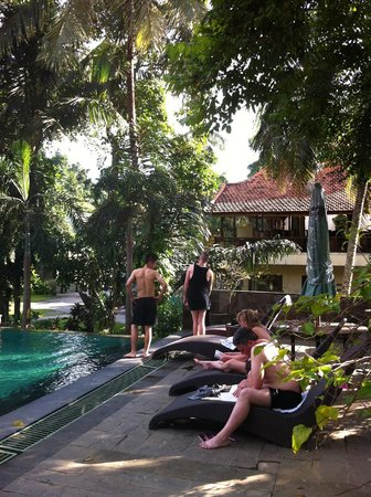 Champlung Sari Hotel : ..overview of the garden-pool ...