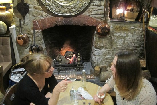 Royal Seven Stars Hotel: Eating in front of a roaring log fire (with dog under the table)