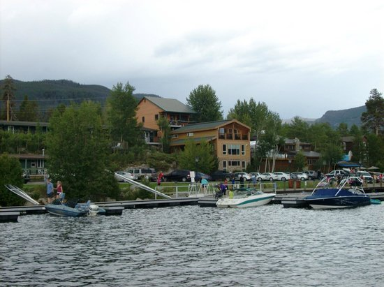 Western Riviera Lakeside Lodging & Events: View from water of lower small lakeside cabins & upper large lakeside cabins
