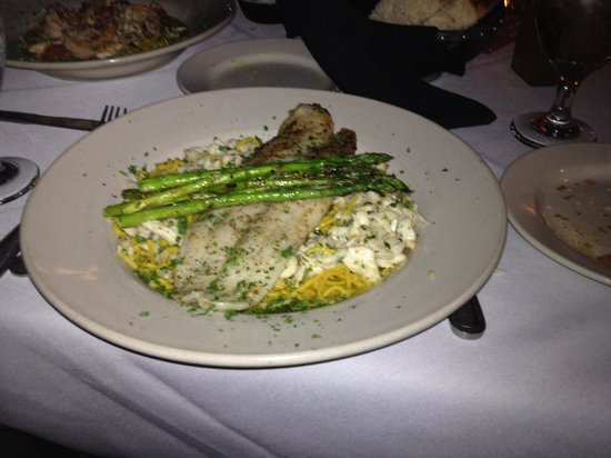 Trattoria Totaro's: Pan seared Striped Bass with crabmeat over pasta...mmmm