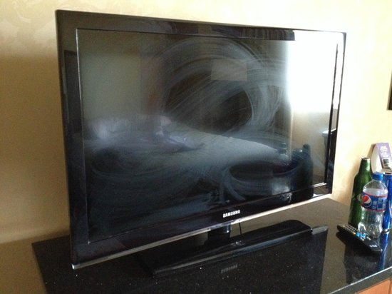 Circus Circus Hotel & Casino Las Vegas: my poorly cleaned tv. which didn't matter because it didnt work anyway.