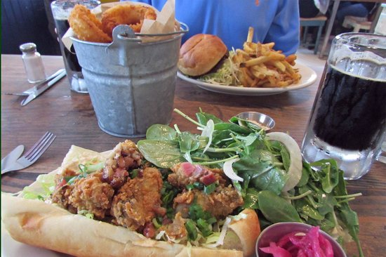 The Fremont Diner: Drake's Bay oyster po'boy, bucket of onion rings, burger