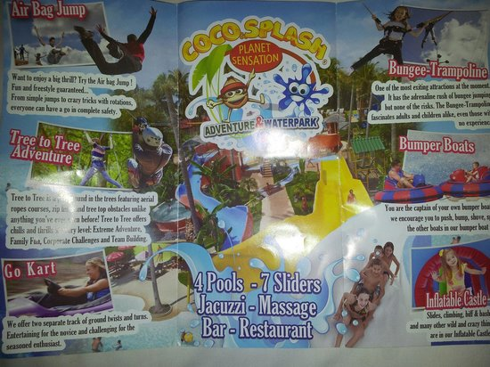 Coco Splash Adventure & WaterPark: Coco splash brochure info