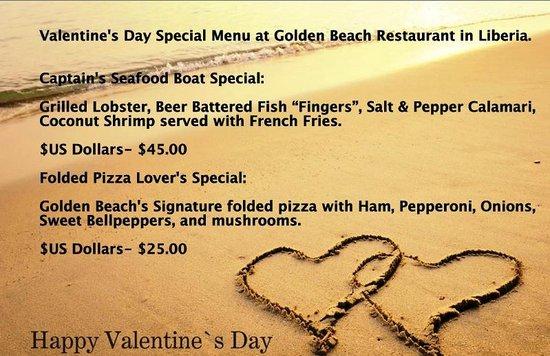 Valentine S Day 2014 Special Menu From Golden Beach Restaurant In
