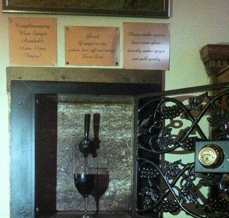 Wine spigot in common area at Belhurst Castle
