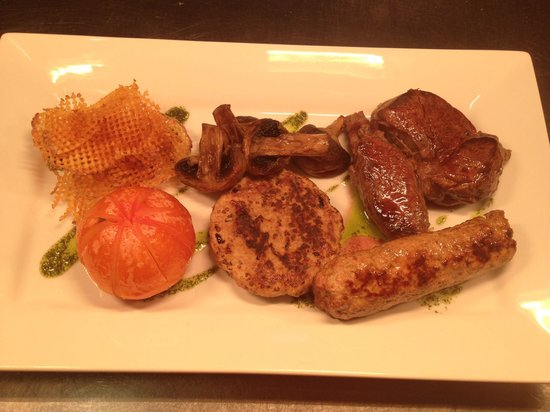 Wheatsheaf Inn : Game mixed grill, venison steak, pheasant burger and spiced rabbit sausage