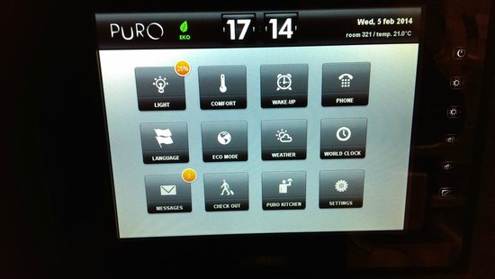 PURO Hotel: the command panel inside the room