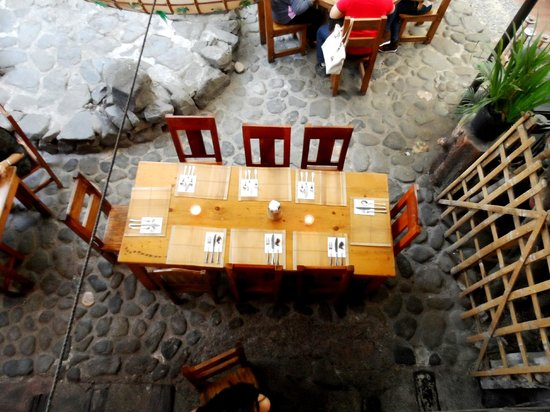 Cafe by the Ruins: long table set up