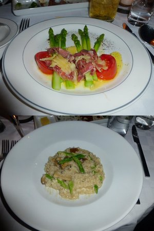 Meson Panza Verde: Asparagus with Parmesan and Mushroom/Asparagus Risotto