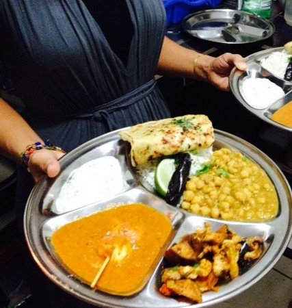 Namaste: Thali plate with food from various regions of India