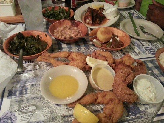 Cracklin Jacks Catfish Chicken: What a spread!