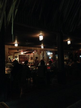 Kariwak Village Restaurant: Dining area and stage.