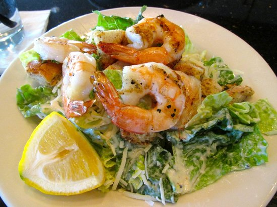 Hereford House: Caesar Salad topped with Shrimp