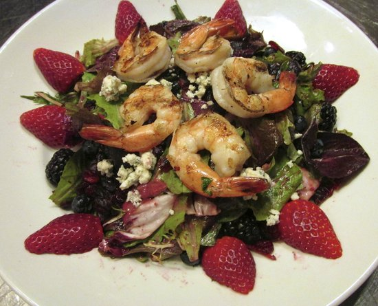 Hereford House : Four Berry Salad topped with Shrimp